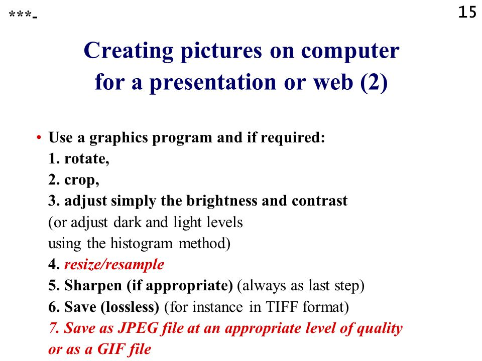 Creating pictures on computer for a presentation or web (2)