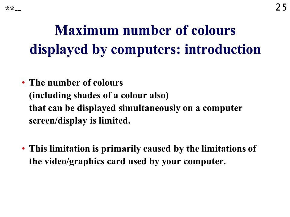 Maximum number of colours displayed by computers: introduction