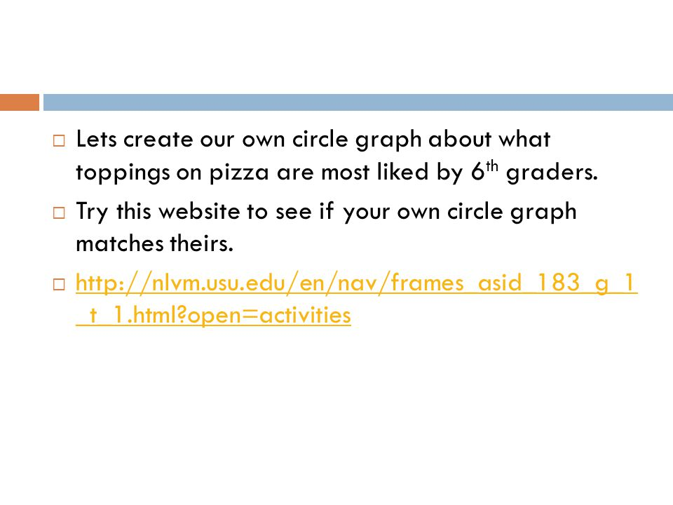 Lets create our own circle graph about what toppings on pizza are most liked by 6th graders.