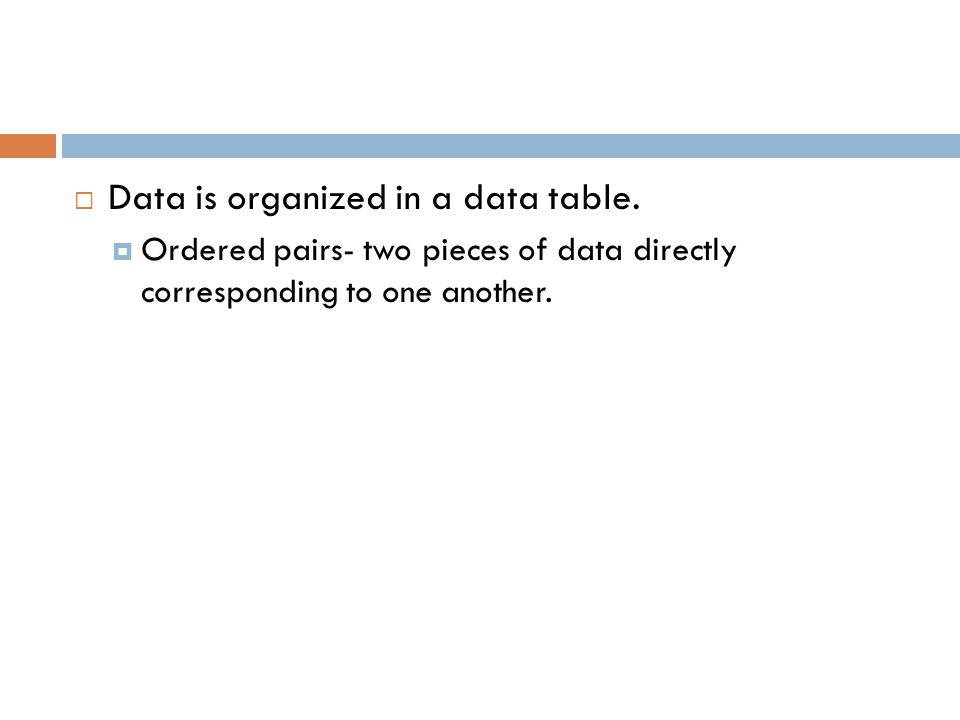 Data is organized in a data table.