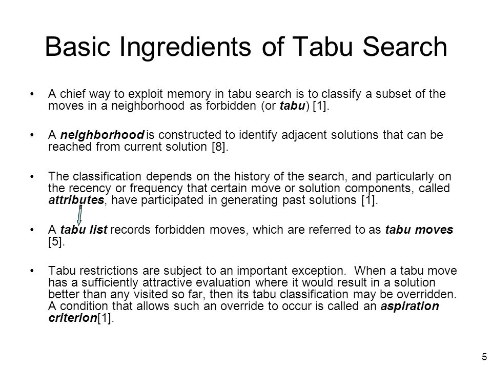 Basic Ingredients of Tabu Search