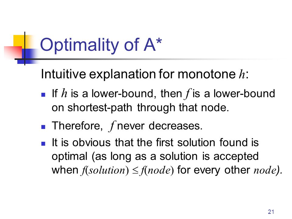 Optimality of A* Intuitive explanation for monotone h: