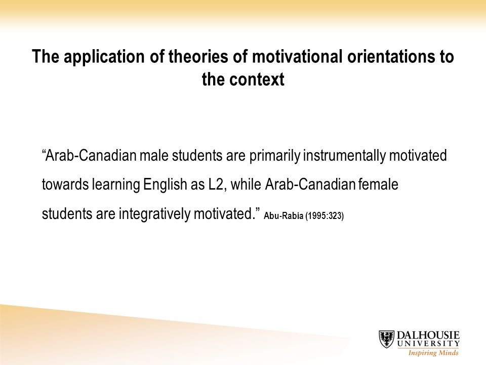 The application of theories of motivational orientations to the context