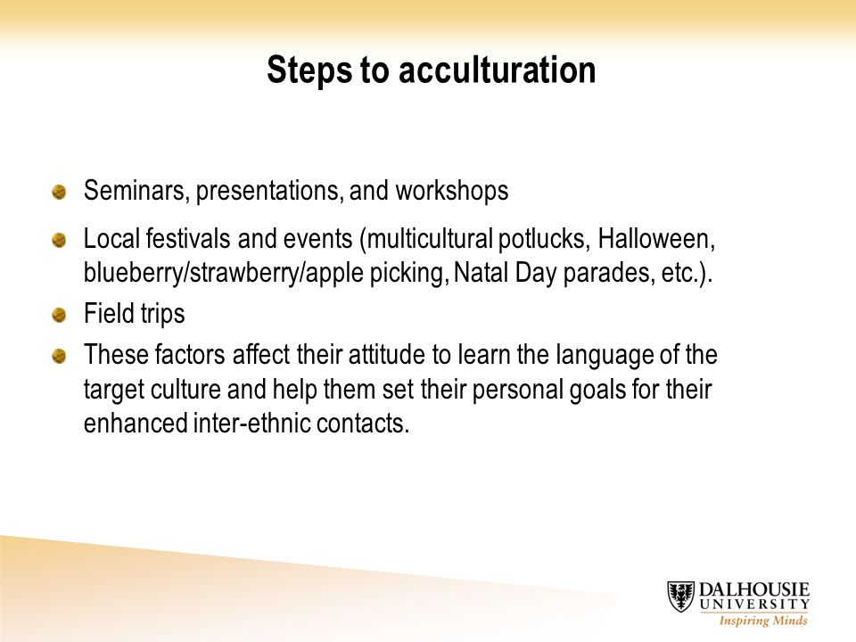 Steps to acculturation