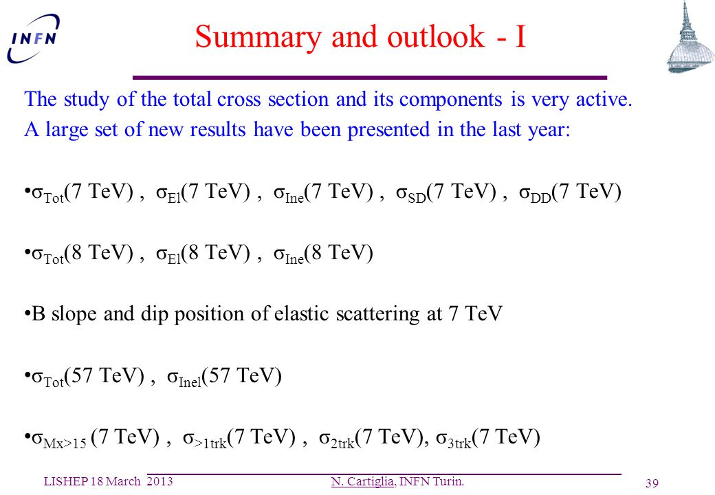 Summary and outlook - I The study of the total cross section and its components is very active.