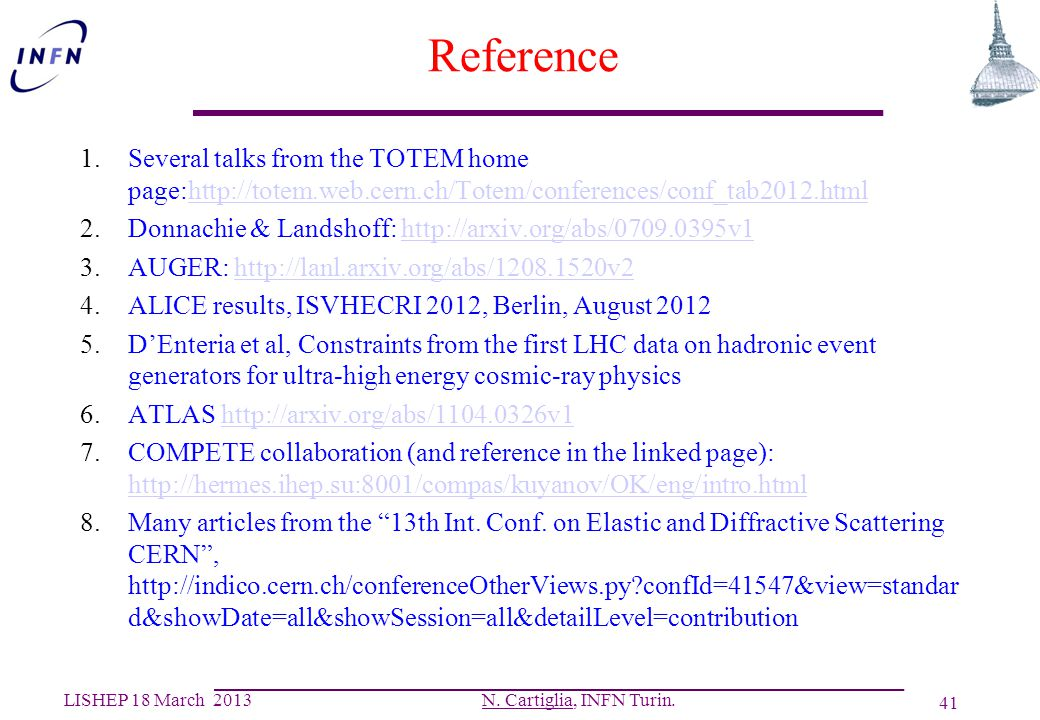Reference Several talks from the TOTEM home page:http://totem.web.cern.ch/Totem/conferences/conf_tab2012.html.