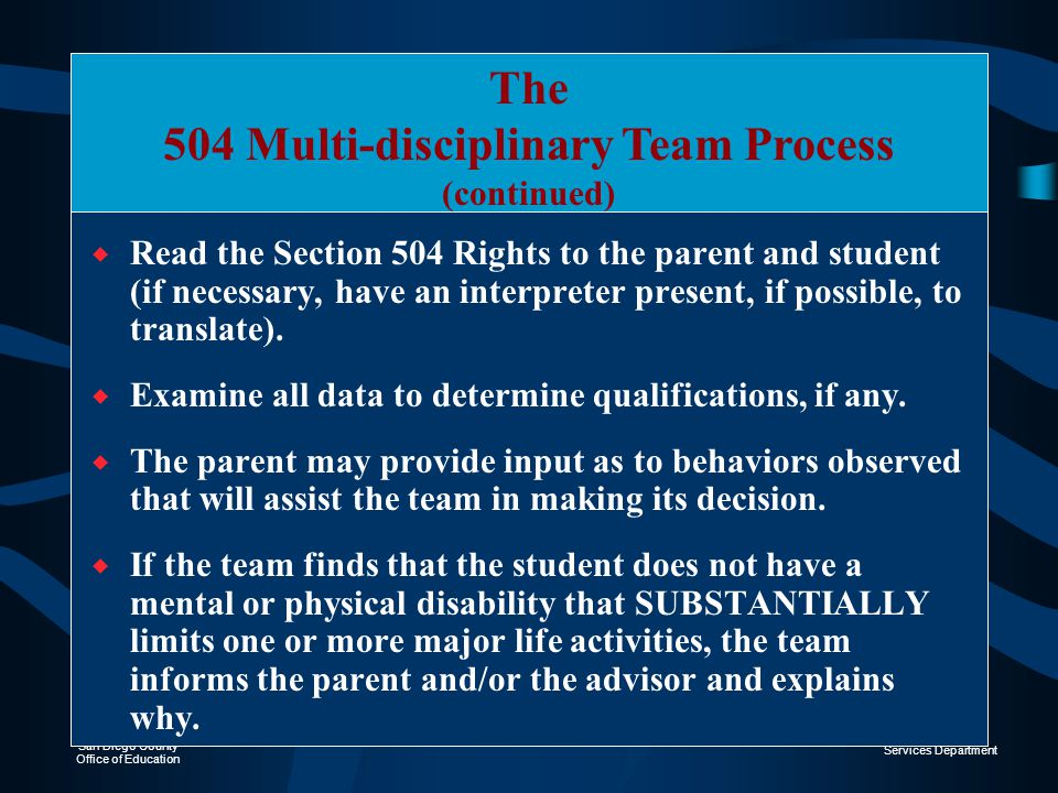 Section 504 January 23, 2002 Welcome to the Section 504 of the ...