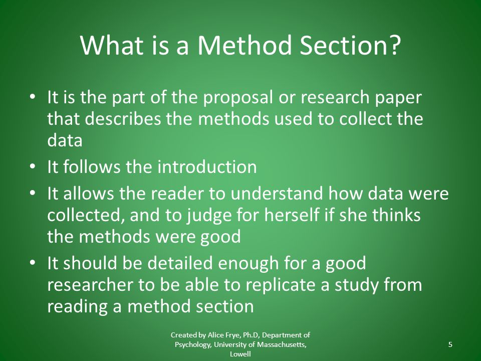 What is a Method Section