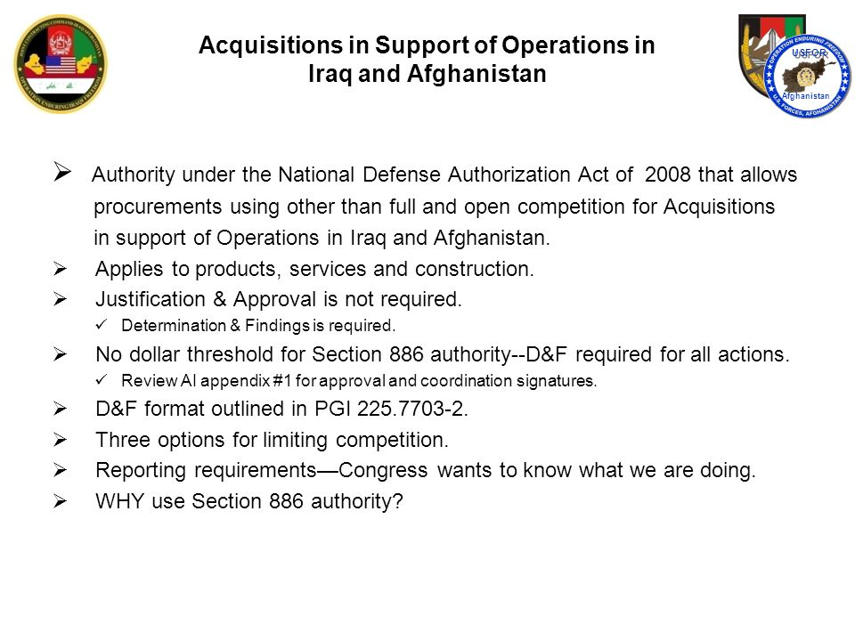 Acquisitions in Support of Operations in Iraq and Afghanistan