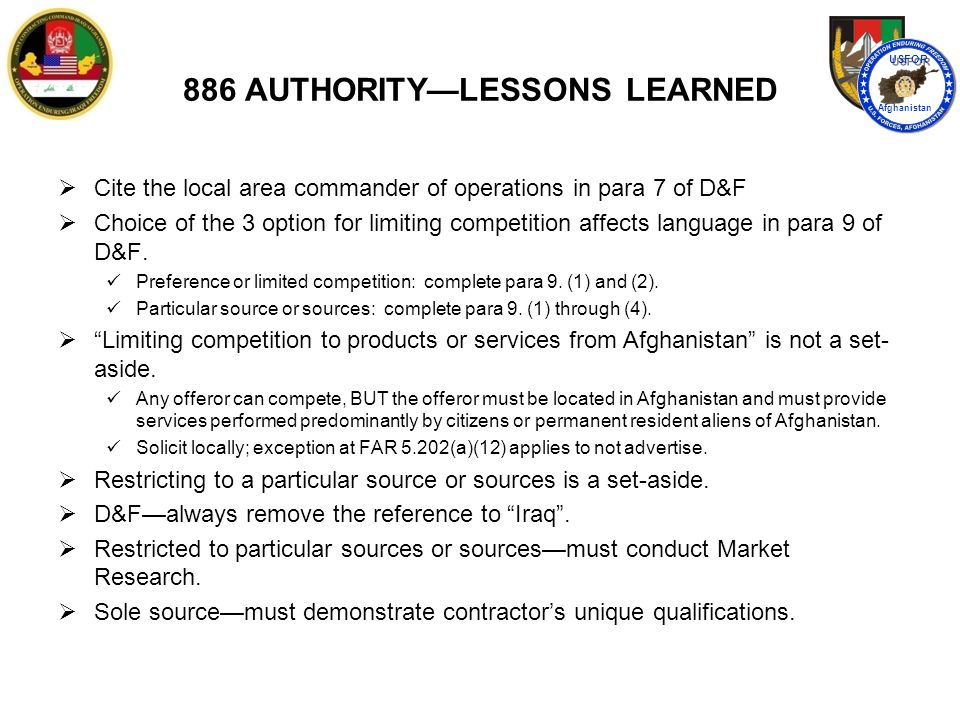 886 AUTHORITY—LESSONS LEARNED