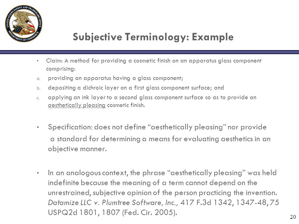 Subjective Terminology: Example