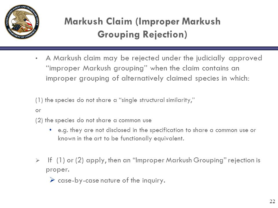 Markush Claim (Improper Markush Grouping Rejection)