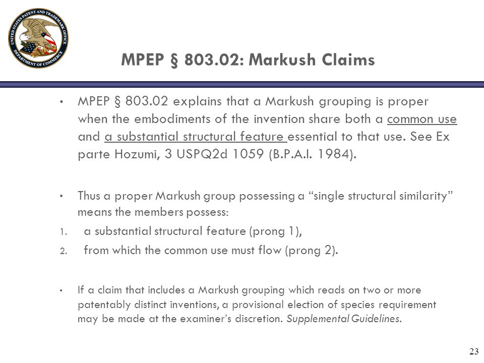 MPEP § 803.02: Markush Claims
