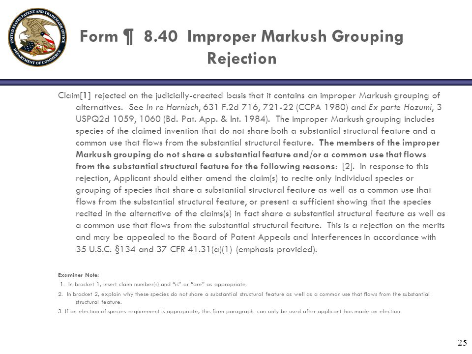 Form ¶ 8.40 Improper Markush Grouping Rejection