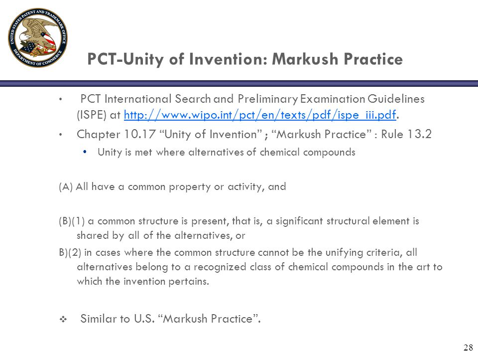 PCT-Unity of Invention: Markush Practice