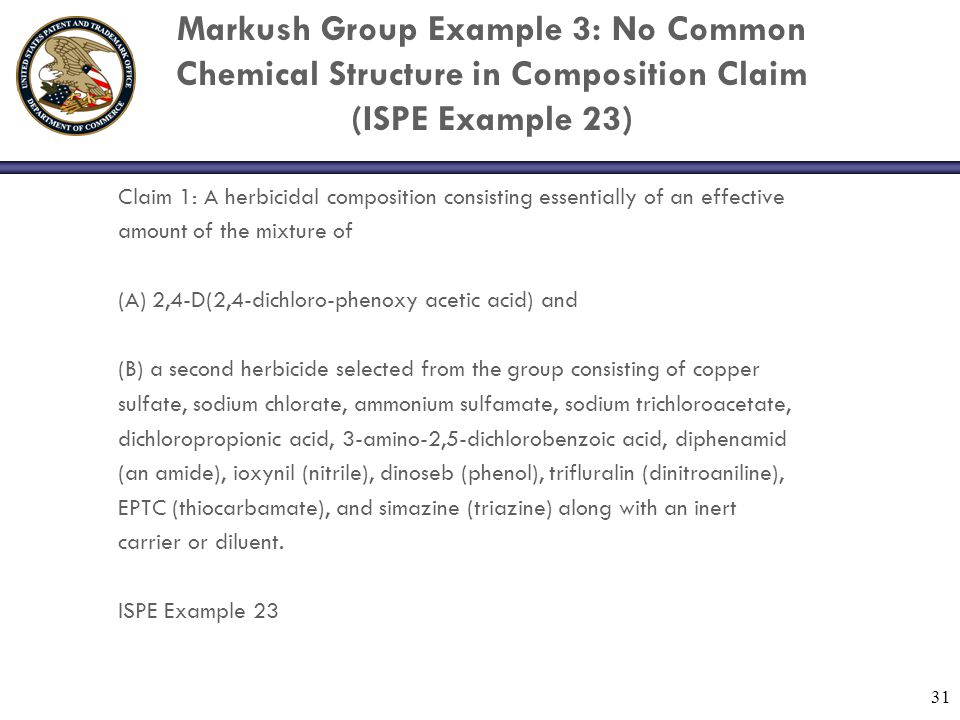 Markush Group Example 3: No Common Chemical Structure in Composition Claim (ISPE Example 23)