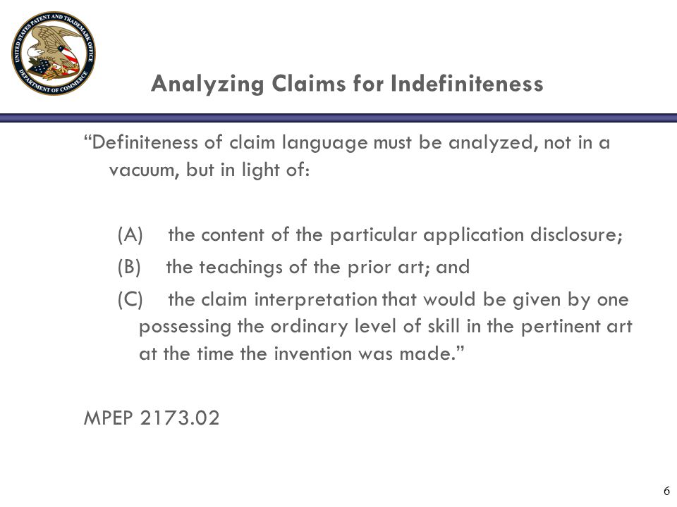 Analyzing Claims for Indefiniteness