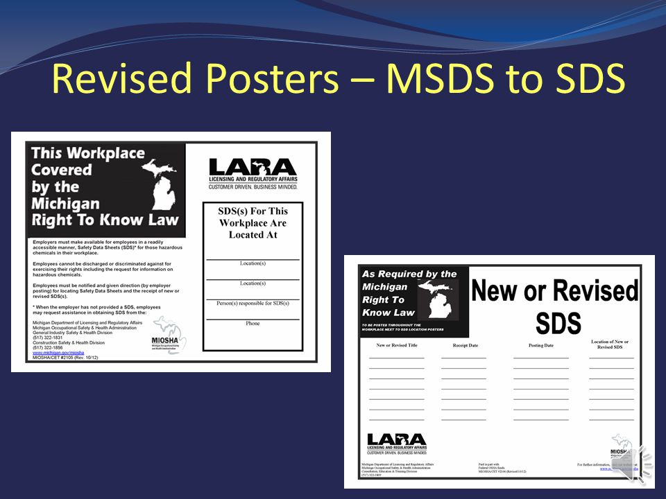 Revised Posters – MSDS to SDS