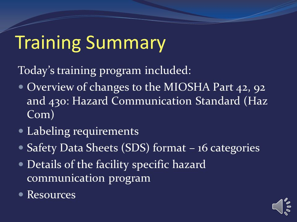 Training Summary Today's training program included: