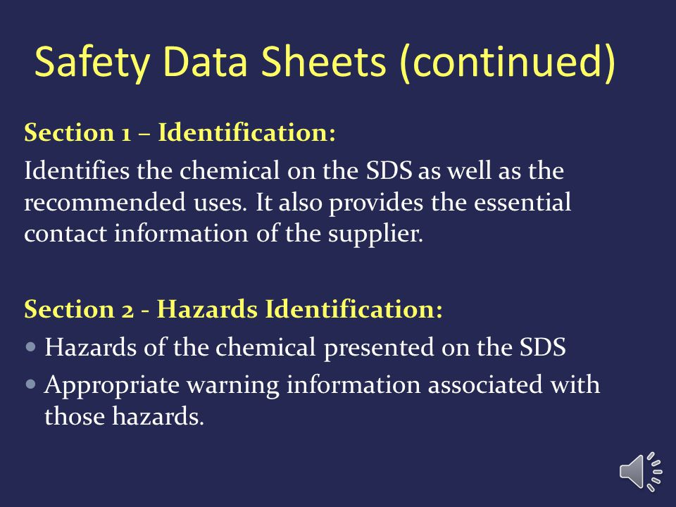Safety Data Sheets (continued)