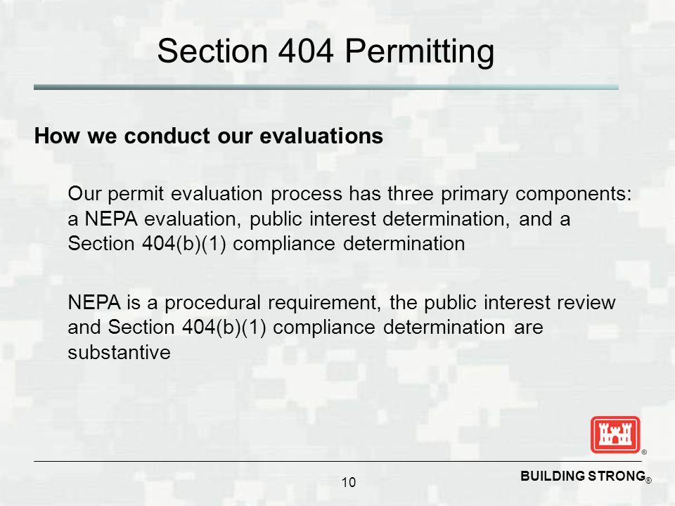 Section 404 Permitting How we conduct our evaluations