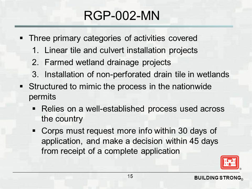 RGP-002-MN Three primary categories of activities covered