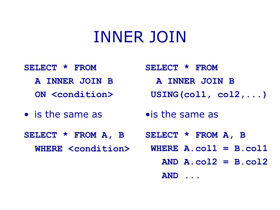 INNER JOIN SELECT * FROM A INNER JOIN B ON <condition>