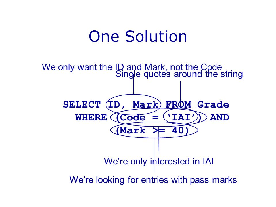 One Solution SELECT ID, Mark FROM Grade WHERE (Code = 'IAI') AND