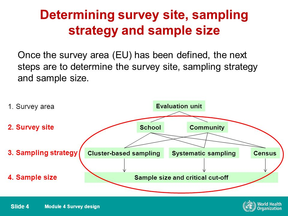 Determining survey site, sampling strategy and sample size