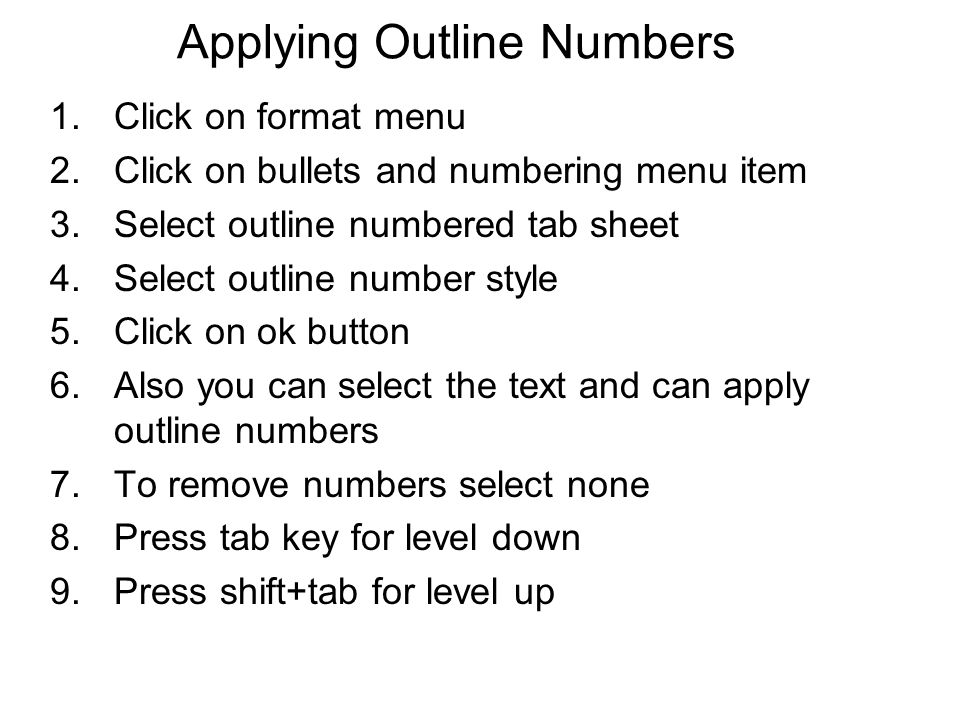 Applying Outline Numbers