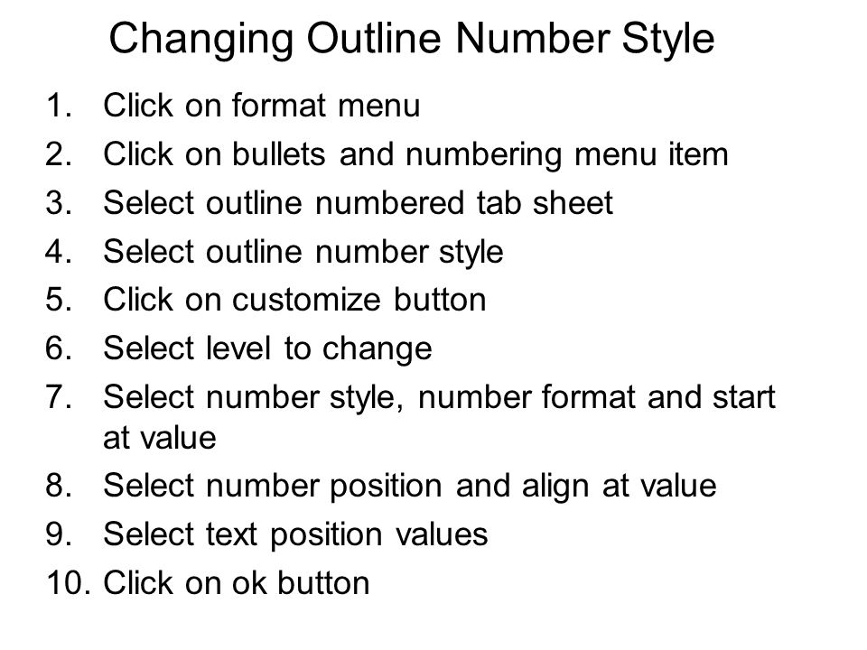 Changing Outline Number Style