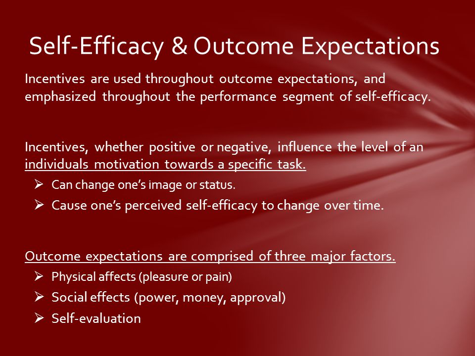 Self-Efficacy & Outcome Expectations