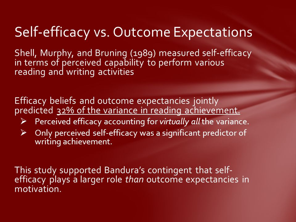 Self-efficacy vs. Outcome Expectations
