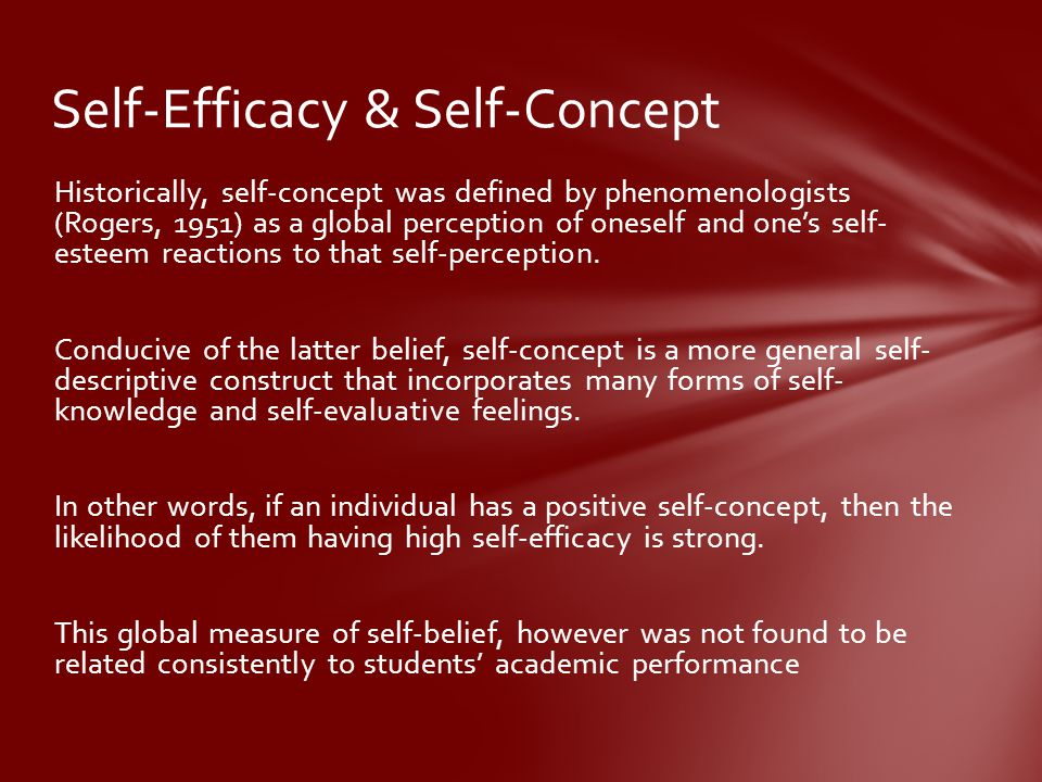 Self-Efficacy & Self-Concept