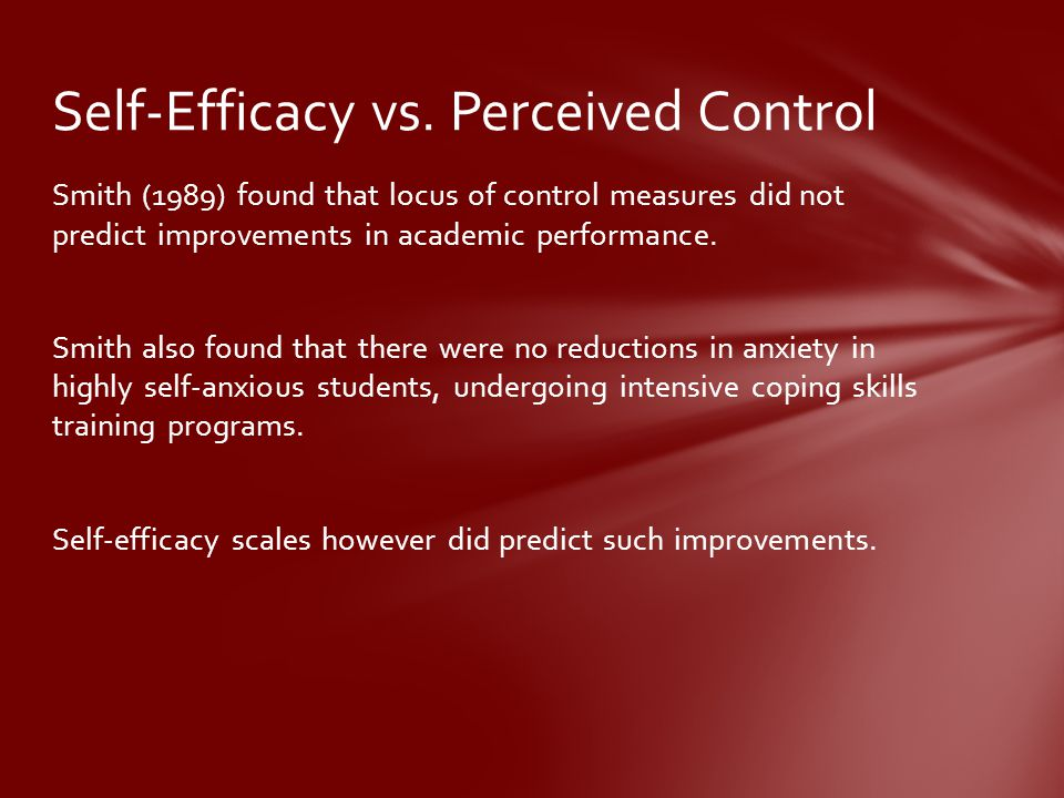 Self-Efficacy vs. Perceived Control
