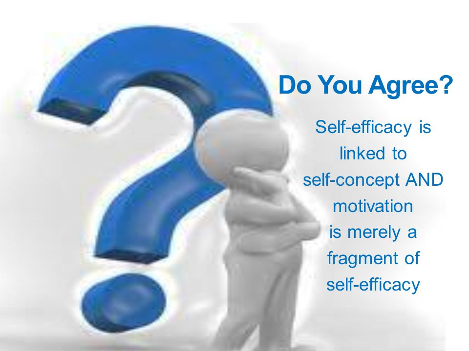 Do You Agree Self-efficacy is linked to self-concept AND motivation is merely a fragment of self-efficacy