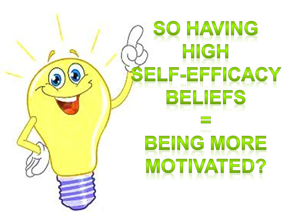 SO HAVING HIGH SELF-EFFICACY BELIEFS = BEING MORE MOTIVATED
