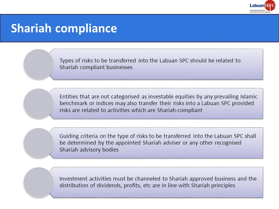 Shariah compliance Types of risks to be transferred into the Labuan SPC should be related to Shariah compliant businesses.