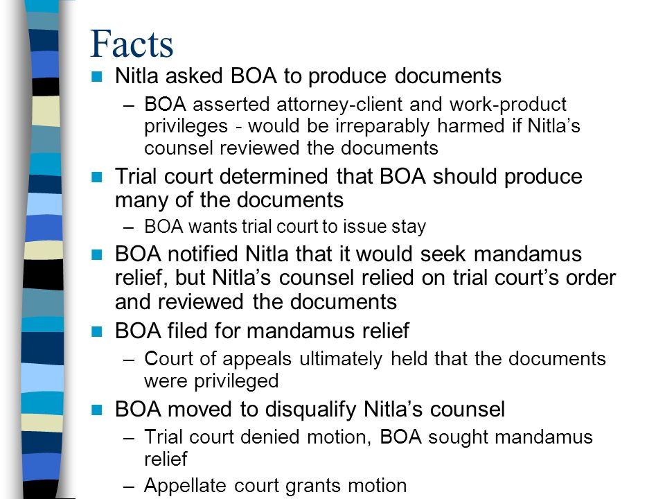 Facts Nitla asked BOA to produce documents