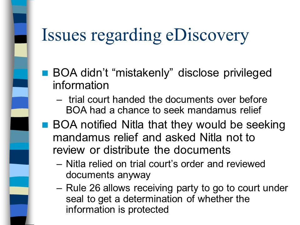 Issues regarding eDiscovery
