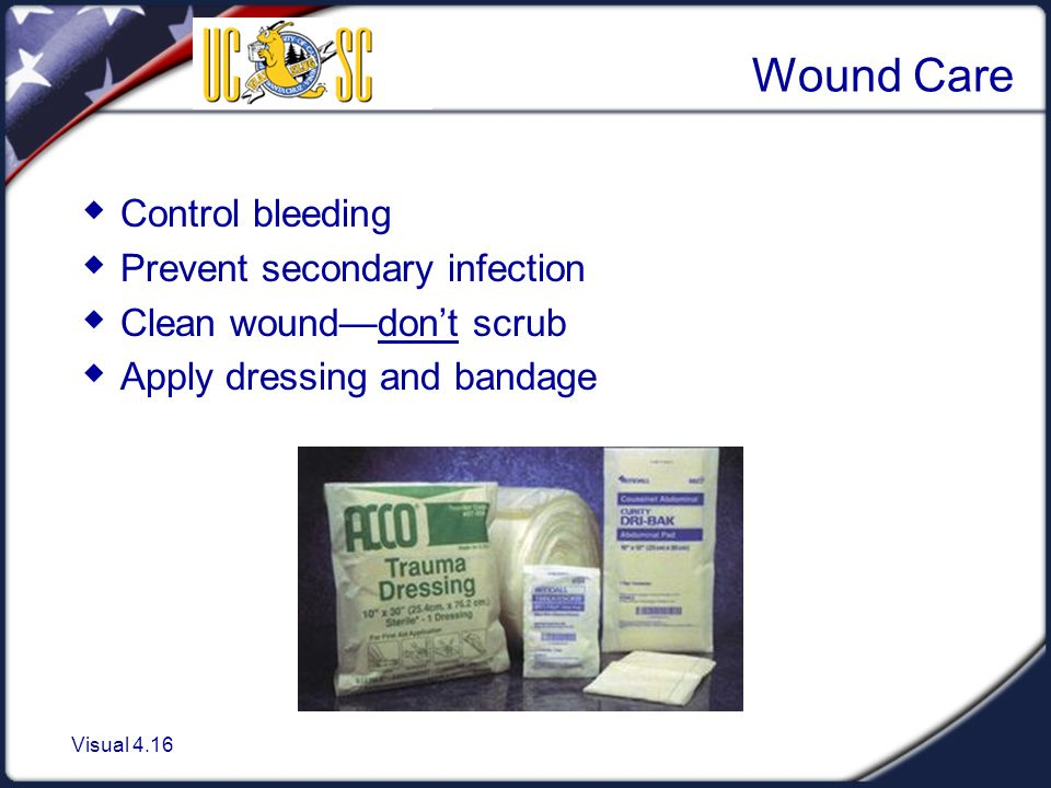 Wound Care Control bleeding Prevent secondary infection