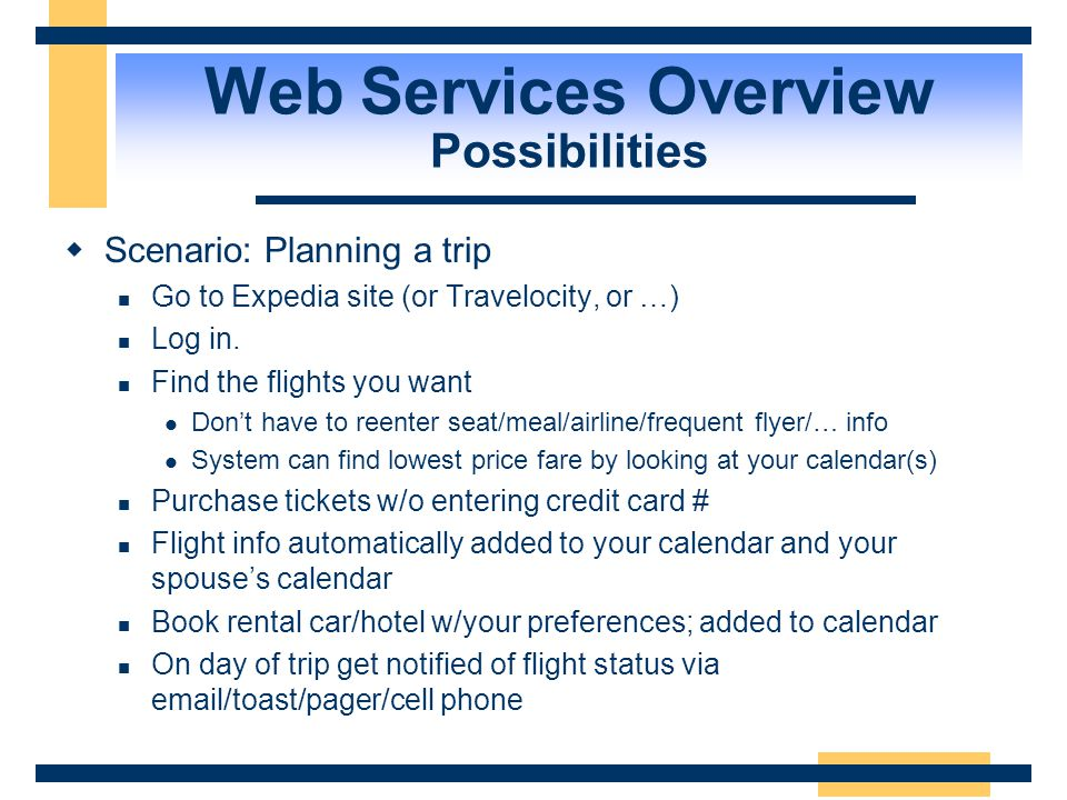 Web Services Overview Possibilities