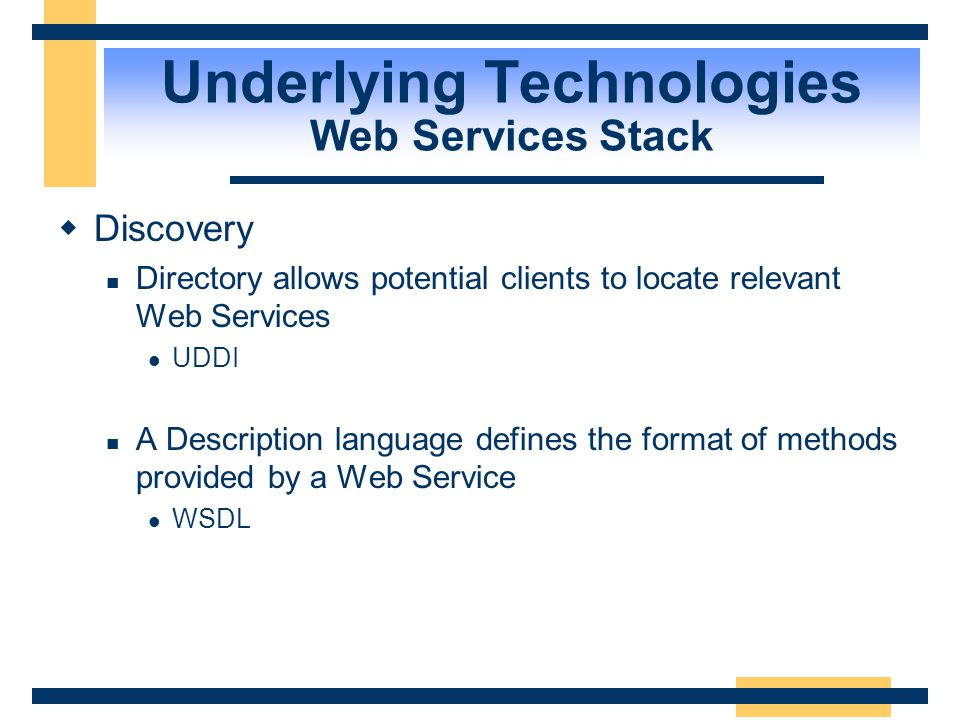 Underlying Technologies Web Services Stack