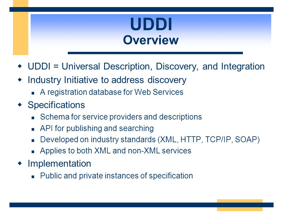 UDDI Overview UDDI = Universal Description, Discovery, and Integration