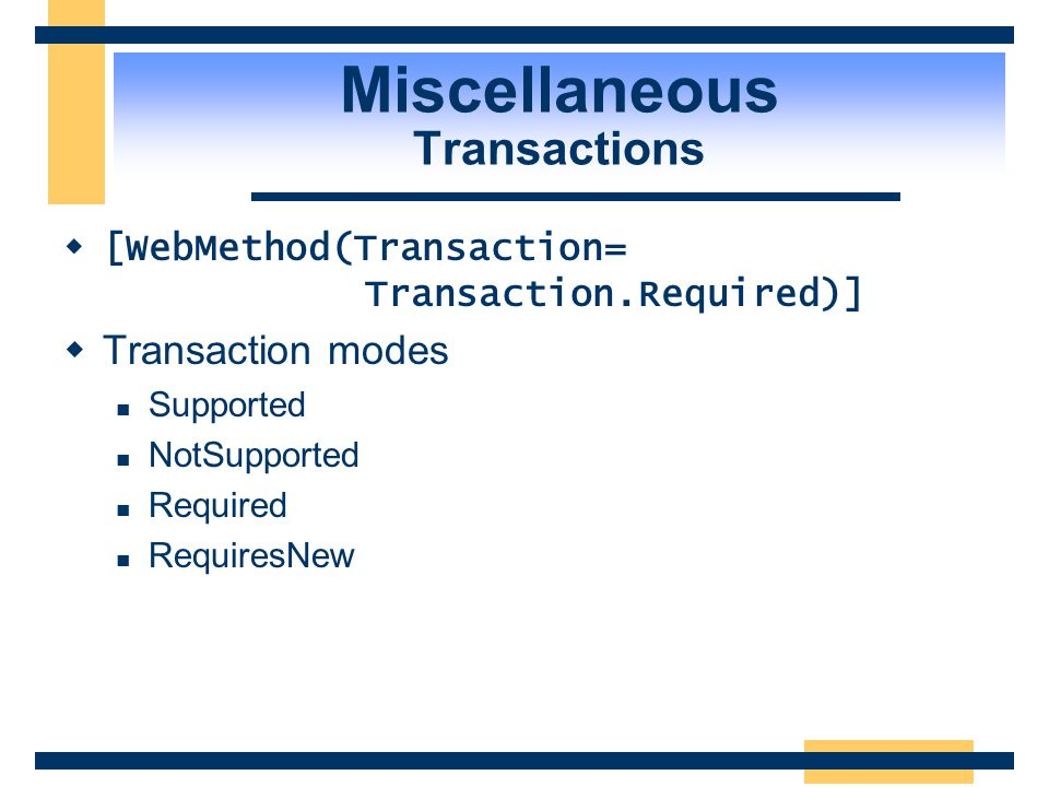 Miscellaneous Transactions