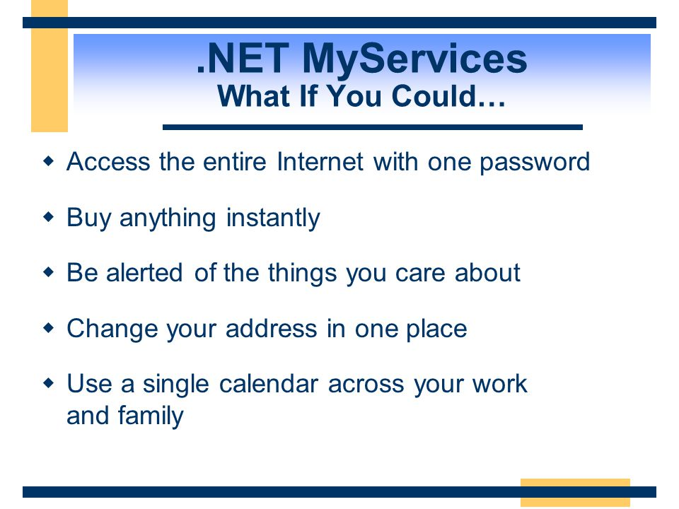 .NET MyServices What If You Could…