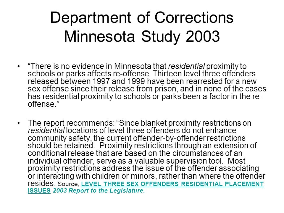 Department of Corrections Minnesota Study 2003