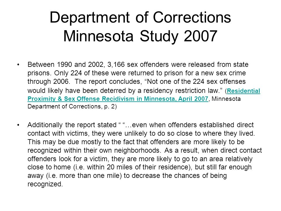 Department of Corrections Minnesota Study 2007