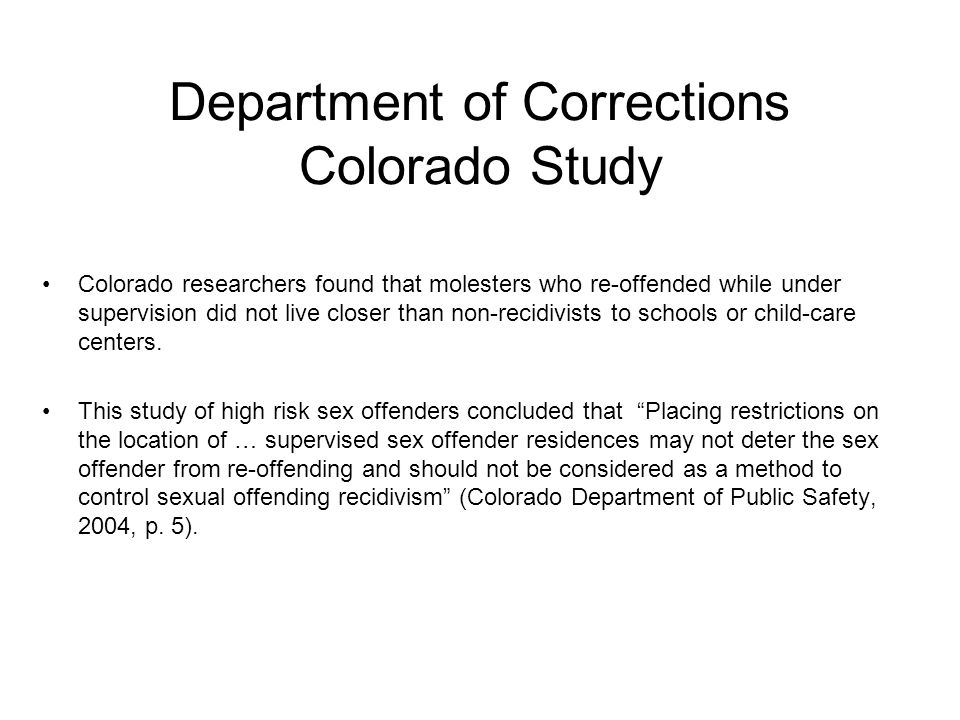 Department of Corrections Colorado Study