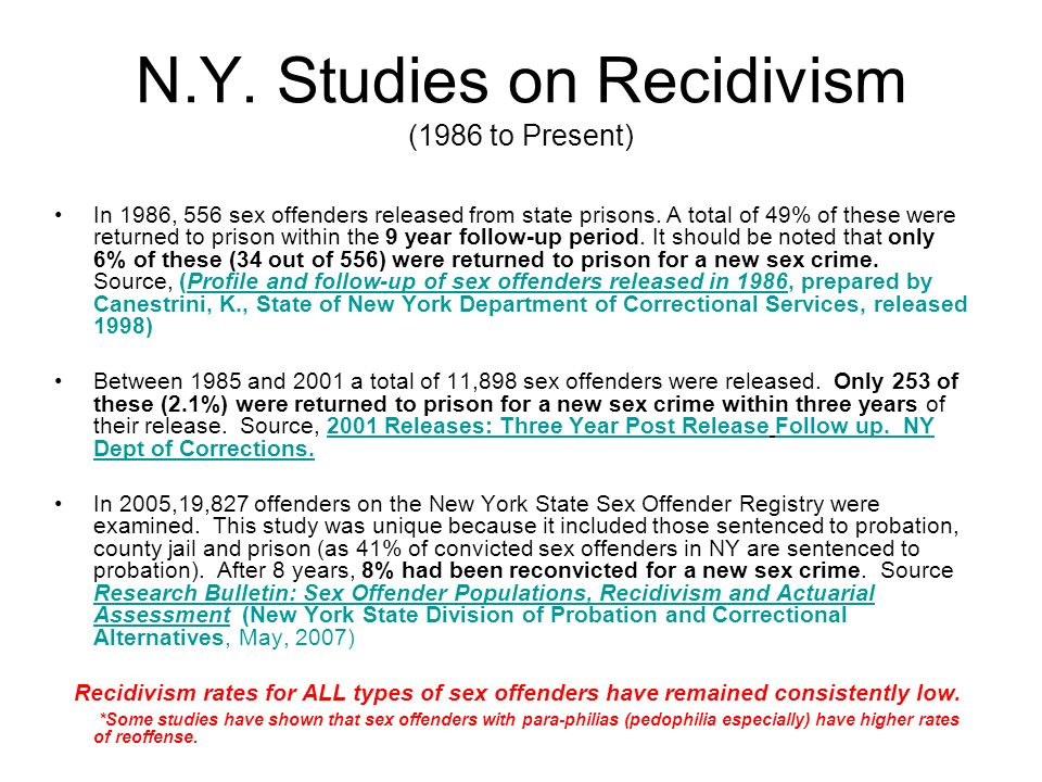 N.Y. Studies on Recidivism (1986 to Present)